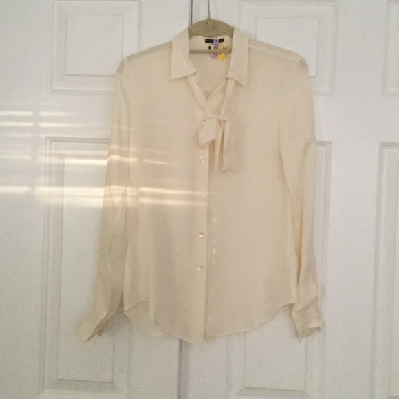 cdc315f1410cac Theory Cream Silk Blouse with Removable Tie Neck. M 5a397a802ae12f5cb50186c8